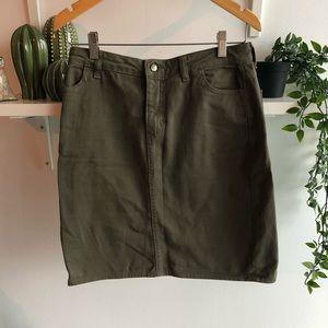 American Apparel olive green denim pencil skirt